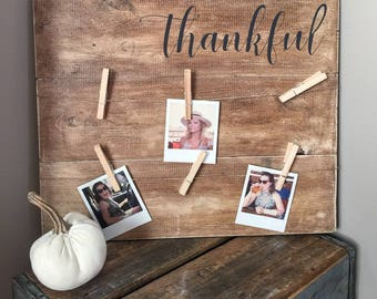 Thankful. Thankful Sign. Picture holder. Picture Hanger Sign. Photo Hanger Sign. Blessed. Rustic Wood Sign. Rustic Photo Holder