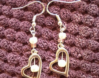 Handmade Sterling silver heart shaped drop earrings with faux cream, small pearls
