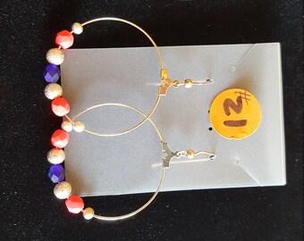 Hoop Earrings - Pink, Blue & Silver beads