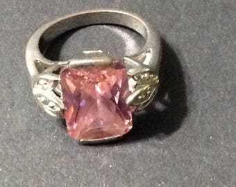 Vintage silver tone and pink gemstone ring, size 7, no maker's mark, three leaves detail on sides.