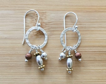Circles of Sterling Silver, Copper, and Bronze Earrings, Silver Earrings