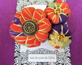 ALESSIA - Les Yoyos de Calie - French hand made japanese asiatic fabric brooch orange red purple hippy chic hobo elegant vintade present