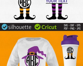 Witch Hat Svg Halloween Monogram Svg Cuttable files Witch Legs Svg Halloween Frame Vinyl Decal Files Cricut downloads Dxf Silhouette clipart