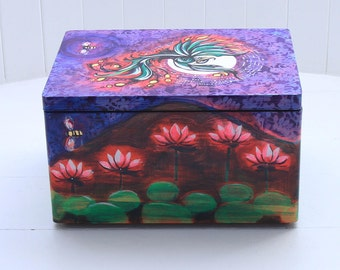Wooden box, hand painted with green phoenix, lotus flowers and bees.