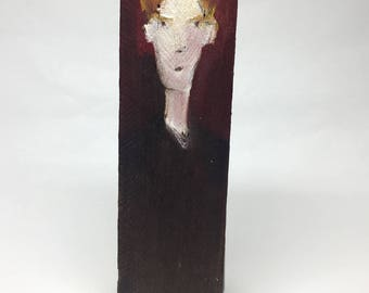 Small painting on wood, decorative, gift - blond face