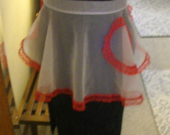 Mid-Century Modern Shear Apron, White with Red Coral Lace Trim