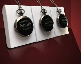 3 Personalized Pocket Watches - Wedding party gift & mementos - Groomsmen gift with box - Best Man and officiant gift - Personalized gifts