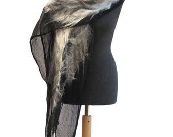 Felted scarf, Gray scarf, Gray fur like scarf, Unique nuno felt scarf, Merino wool scarf, Women scarf, Shawl, Felt shawl, Unique handmade