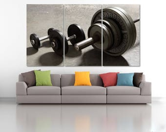 Gym Wall Decor, Gymnastic Poster, Barbell Wall Art, Barbells, Dumbbells Canvas Print, Weightlifting Equipment, Bodybuilding Motivation LC085