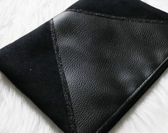 Pouch - black - imitation leather, suede & glitter