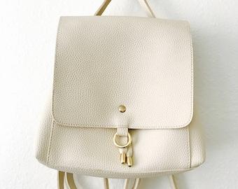 Minimalist Ivory White Open Flap Closure Mini Contemporary Backpack