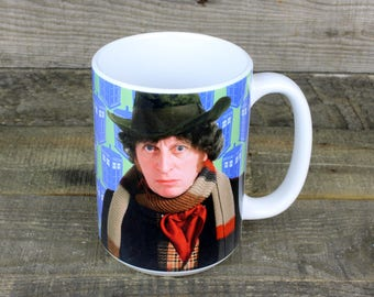 Dr Who Mug 4th Doctor scarf Tom Baker whovians dalek tardis nerdy gifts comic-con TV gifts for dad fathers day HER Him