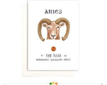 Aries the Ram Printable Greeting Card, Zodiac Sign March or April Birthday Card, Instant Download