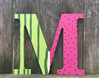 watermelon letter, watermelon decor, watermelon party, watermelon birthday, summer decor, summer gift, watermelon gift, tropical fruit, pink