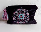 Boho makeup bag velvet clutch bridemaids bag boho pouch spiritual gift gifts for her zipper pouch velvet bag festival pouch