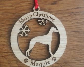 Personalised Whippet Dog Bauble, Personalised Dog Decoration, Whippet Bauble, Dog Christmas Decoration, Christmas pet decoration, Dog xmas