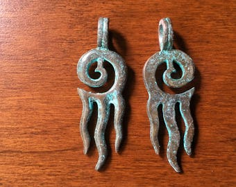 Stylized Jellyfish  Squid Calamari Pendant Earring Component Sea Life Scroll Spiral