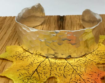 Ladies handmade sterling silver, 2cm wide hammered finish open heavy cuff bangle, 14 cm long.