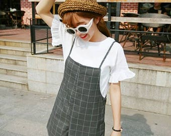 GREY CHECK PLAYSUIT