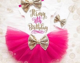 4th Birthday Shirt Girl | 4th Birthday Outfit Girl | Pink And Gold Birthday Outfit | 4th Birthday Tutu Set | Girl 4th Birthday Tutu Set