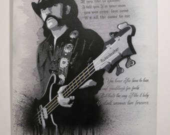 Lemmy /Motorhead spray-painted canvas