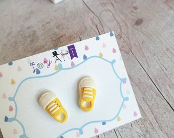 Stud Polymer Clay , Sneakers Earrings , Yellow Earrings , Little Stud earrings , Perfect gift , Cute Earrings