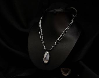 Dendritic agate necklace adjustable Kiabate