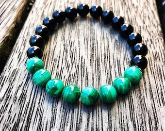 Black Tourmaline & Malachite Crystal Bracelet