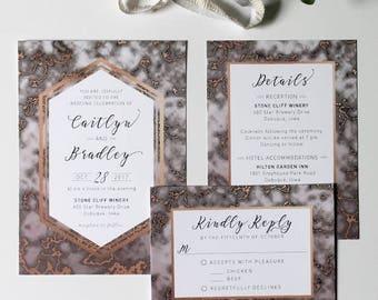 Marble Invitation / Custom Wedding / Printable PDF / Digital Wedding Invite / Invitation Set / Wedding Suite / Marble Wedding / Calligraphy