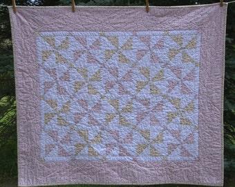 Traditional Pink Pinwheel Heirloom Baby Quilt