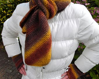 Chocolate Banana scarf, diagonally striped, 100% wool, shades of yellow, brown and beige, beautiful on its own or as part of a set