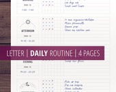 Daily Routine Planner Printable, Home Management Planner Insert, Flylady Morning Routine Checklist, Household printables, Letter Size