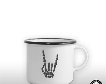 Rock bone rocker \m/ music of biker enamel mug / Cup gift man friend outdoor design, Festival, cool, retro, new
