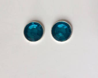 Vintage 1970's Teal Blue Round Lucite Rhinestone Statement Earrings