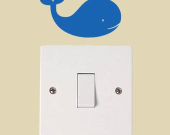 Whale Vinyl Decal, Wall Light Switch Sticker, Wall Sticker, Vinyl Decal, Nursery Decor, Playroom sticker, bedroom sticker