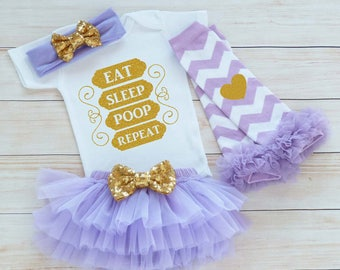 Coming Home Baby Girl Outfit, Baby Girl Coming Home Shirt, Eat Sleep Poop Bodysuit, Baby Coming Home Shirt, Baby Shower Gift, Infant Outfit