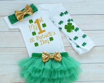 Baby Girl St Patricks Day Outfit, St Pattys Girl, My 1st St Patricks Day, Baby Girl Outfit, St Patricks Day Outfit, Little Miss Lucky Charm