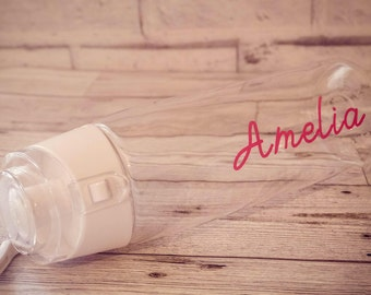 Personalised Water Bottle - Love island style 700ml - Rose gold writing in stock