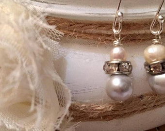 FREE SHIPPING !!! Pearl Dangle Earrings, Cultured Silver Grey Freshwater Pearls