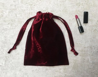 smallbags reflections Burgundy smooth silk velvet black - mixed cotton bag