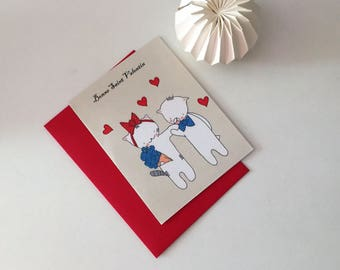 "Folded card for St Valentin- ""Choumi et Michou"