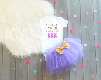 Baby Girl Easter Outfit Girls Easter Outfit Shake Your Bunny Tail Shirt Baby Girl Easter Dress Easter Tutu Bunny Tail Outfit Girls Easter