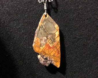 Freeform Picasso Jasper, German Silver wire with a 925 Sterling Silver-filled snake chain.  J 20