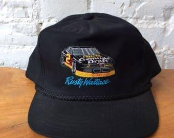 Vintage Rusty Wallace Snapback Hat / Nascar / 90s 1990s / Winston Cup Racing / Retro / Miller Genuine Draft / Beer