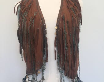Vintage 70's Leather Boho Chain Beads FRINGE Vest S / M