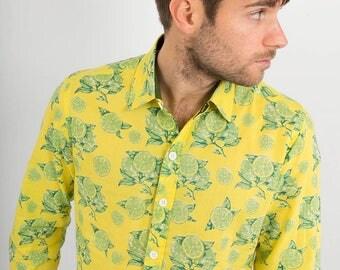 Mens 100% Cotton Long Sleeve Slim Fit Shirt Yellow Green Lemons Limes Fruit Citrus Print Lightweight Material