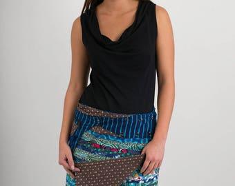 Reversible Cotton Skirt Blue Patch Grey Flowers Print Detachable Pocket Medium Length