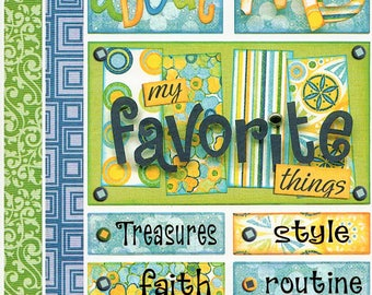 All About Me Titles Tags Borders Bo Bunny  Cardstock Scrapbook Stickers Embellishments Card Making