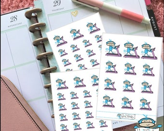 Blue Monkey Gym Day Planner Stickers - Treadmill Sticker, Running Sticker, Get Fit Sticker, Work Out Stickers - Planner Decoration (MM031)
