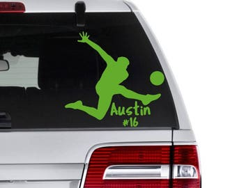 Soccer Decal, Soccer Player Decal, Personalized Sports Decal, Soccer Lover Gift,  Soccer Team Gift, Soccer Coach Gift, Sports Team Favors